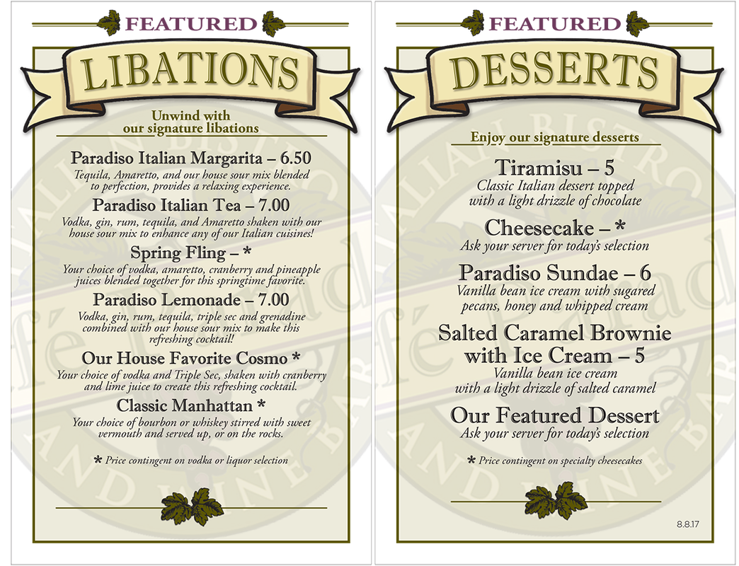 featured drink and desserts menu