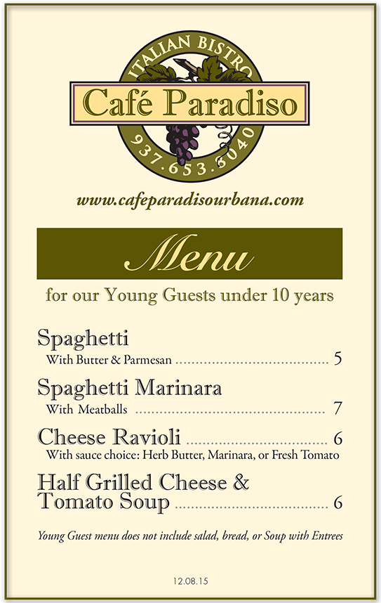 Monument Cafe Lunch Menu