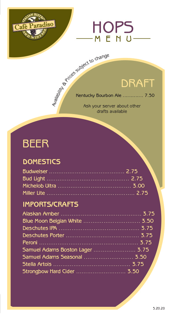 Cafe Paradiso Beer Menu