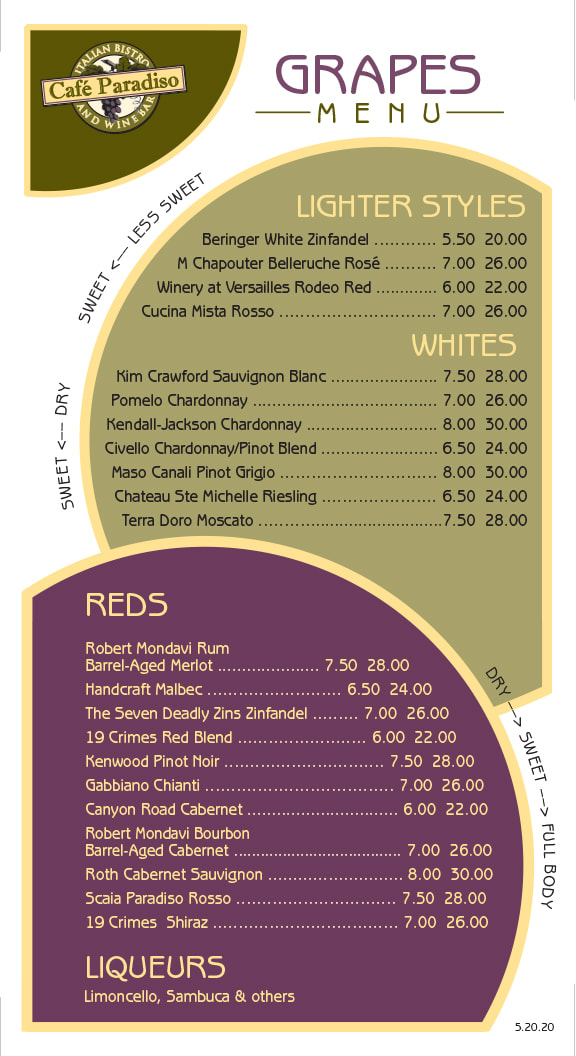 Cafe Paradiso Wine Menu
